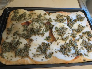 pizza with provolone cheese and basil puree - IMG_5880_1