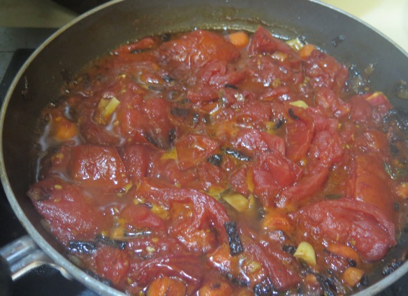 roasted tomato soup simmering in skillet - IMG_6729