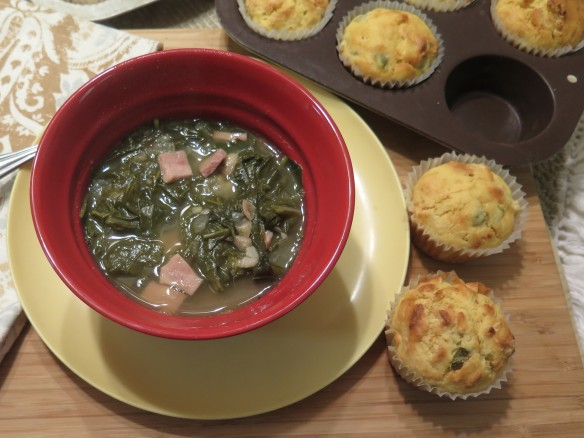 Mustard Green and Ham Soup with Cornbread Muffins - 1 - IMG_1396_1