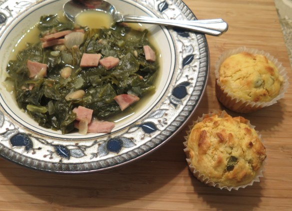 Mustard Green and Ham Soup with Jalapeno Cornbread Muffins - 2 - IMG_1391_1