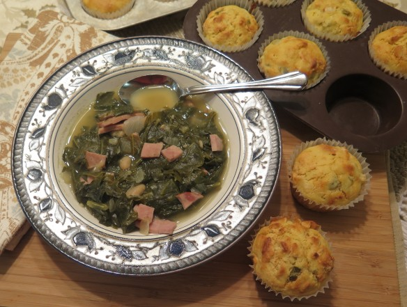 Mustard Green and Ham Soup with Jalapeno Cornmeal Muffins - IMG_1395_1