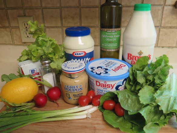 Creamy Buttermilk Dressing Ingredients and Salad Ingredients - IMG_2760
