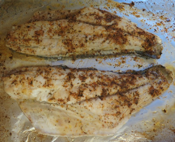 Cajun Baked Redfish on baking sheet - IMG_4894