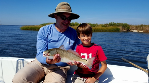 Dylan and Grandfather with Redfish catch - 20151011_112705