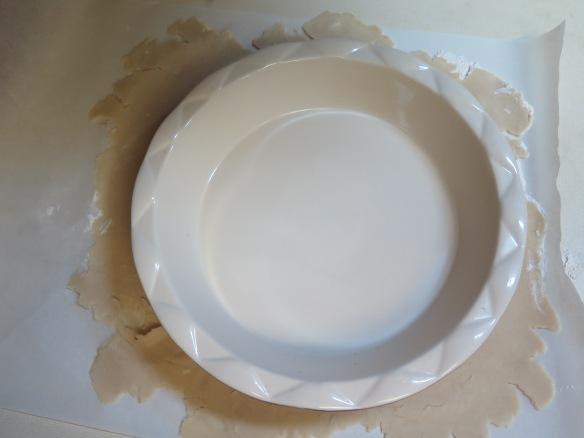 Measuring pie crust for fitting pie pan - IMG_5543