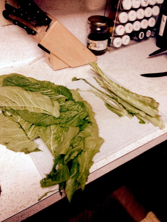 Fresh Mustard Greens on counter with center ribs removed - FullSizeRender (14)