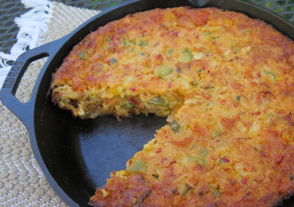 CaJun Crawfish Cornbread Casserole in Cast Iron Skillet