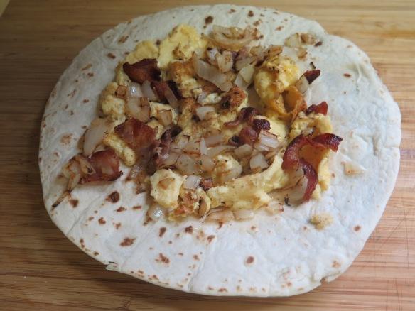 Adding Egg and bacon, onions - IMG_6782