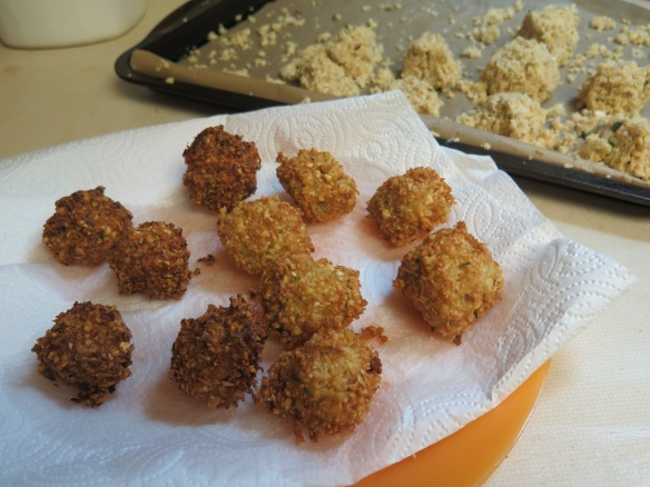 Finished Falafel and falafel ready to fry - IMG_8941