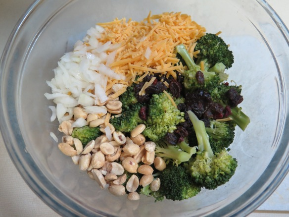 Broccoli Salad ingredients in a bowl - IMG_0693