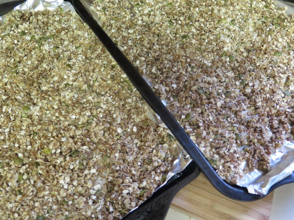 Granola on baking sheets - IMG_9496
